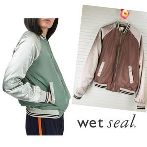 NWT Wet Seal Varsity Stripe Satin Bomber Jacket